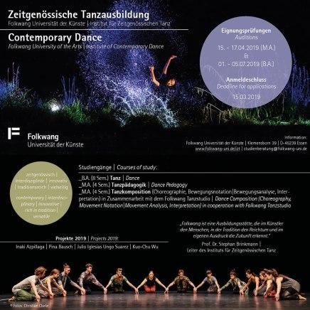 Folkwang Flyer –Tanzausbildung